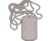god grant me the serenity AA engraved dog tag