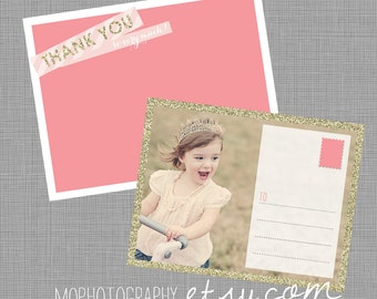 Pink and Gold Glitter - Girl Thank You, POSTCARD Style - Digital file for at home printing