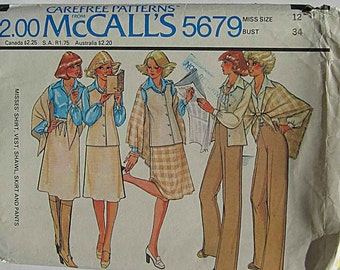 Vintage 70's Boho Misses' Shirt, Vest, Shawl, Skirt and Pants, McCall's 5679 Sewing Pattern UNCUT Size 12