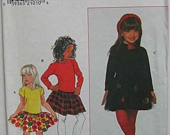 Toddler's, Girls, Children's Pullover Dress By Amber, Optional Tulle Overskirt, Simplicity 7888 Sewing Pattern UNCUT Sizes 2, 3, 4