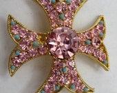 Pink Iron Cross / Pink Rhinestone Pin / BSK Pin /  Vintage Jewelry / Vintage Brooch / Sparkley Pink