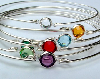 Set OF 6 - Birthstone Bracelets Gemstone Bangle Bracelet, Bridesmaids Gift, Gemstones Jewelry, Bezel Bracelet