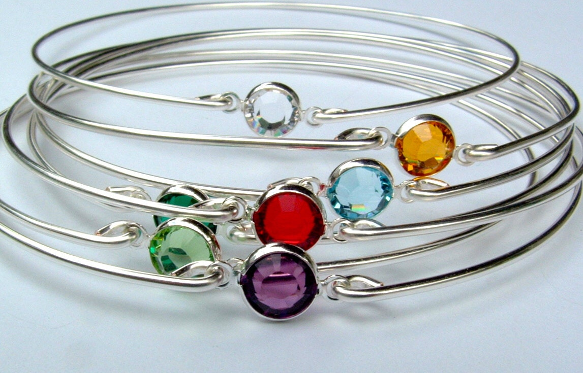 Set OF 6 Birthstone Bracelets Gemstone Bangle Bracelet