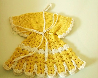 Vintage Yellow and White Crocheted Dress Potholder