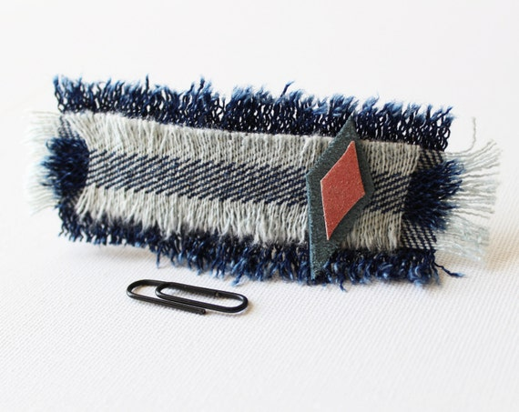 Lonely Kite Medium Chunky Hair Clip - Recycled Denim and Leather Hair Accessory Barrette Clip