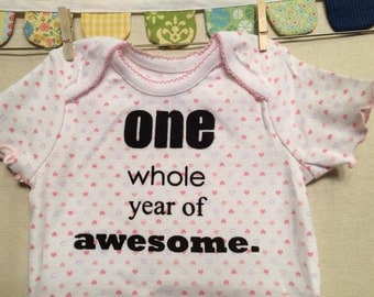 one whole year of awesome --- pink patterned bodysuit, size 12 months