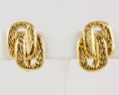 Napier Gold Tone Clip Earrings, Two Brushed Gold Ovals linked together, Vintage, Signed, Excellent condition