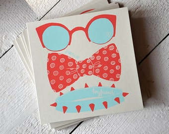 Paris Boyfriend hand Silkscreen Printed art illustration card - bow - glasses - hipster - dog collar