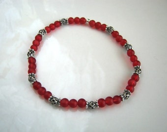 Red Stretch Bracelet Antique Silver Filigree and Red Stacking Bracelet