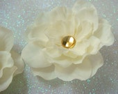 Pair of ivory champagne flowers with topaz rhinestone centers / ivory flower champagne flower clip rhinestone bridal flower