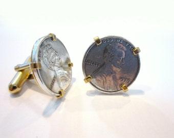 Silver Penny Cufflinks Vintage Mens Jewelry Cuff Links