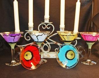 Hand Painted Martini Glasses -Poppy Fields set of (4)