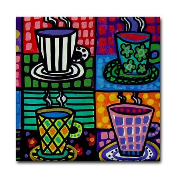 Coffee Cups Art Tile Ceramic Coaster Mexican By