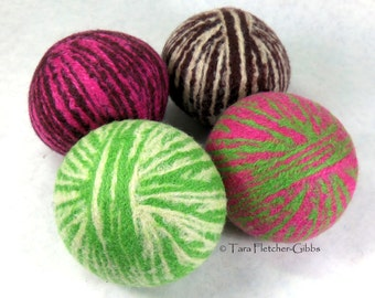 Wool Dryer Balls - Girls Girls Girls! - Set of 4 - Eco Friendly - Can Be Scented or Unscented