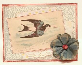 Valentine's Day Card - To My Valentine - Handmade Vintage Inspired Valentine's Day Greeting Card