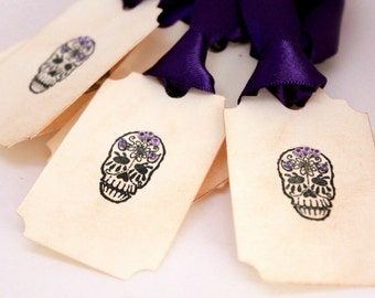 Dia de los Muertos Calavera (Skulls) - Handmade Day of the Dead Treat Tags - Sugar Skulls - Party Favor (Set of 8)