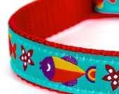 Colorful Fish Dog Collar / Pet Accessory / Adjustable ribbon Collar / Nautical Ocean