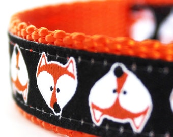 Fox Faces Dog Collar, Adjustable Dog Collar,  European Ribbon Collar