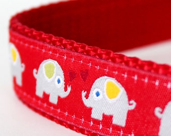 Red Elephants Dog Collar, Adjustable Dog Collar, European Ribbon Collar