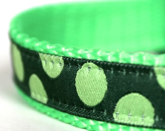 Green Polka Dots Dog Collar, 5/8 inch width,  Small Dog Collar,  Adjustable Dog Collar