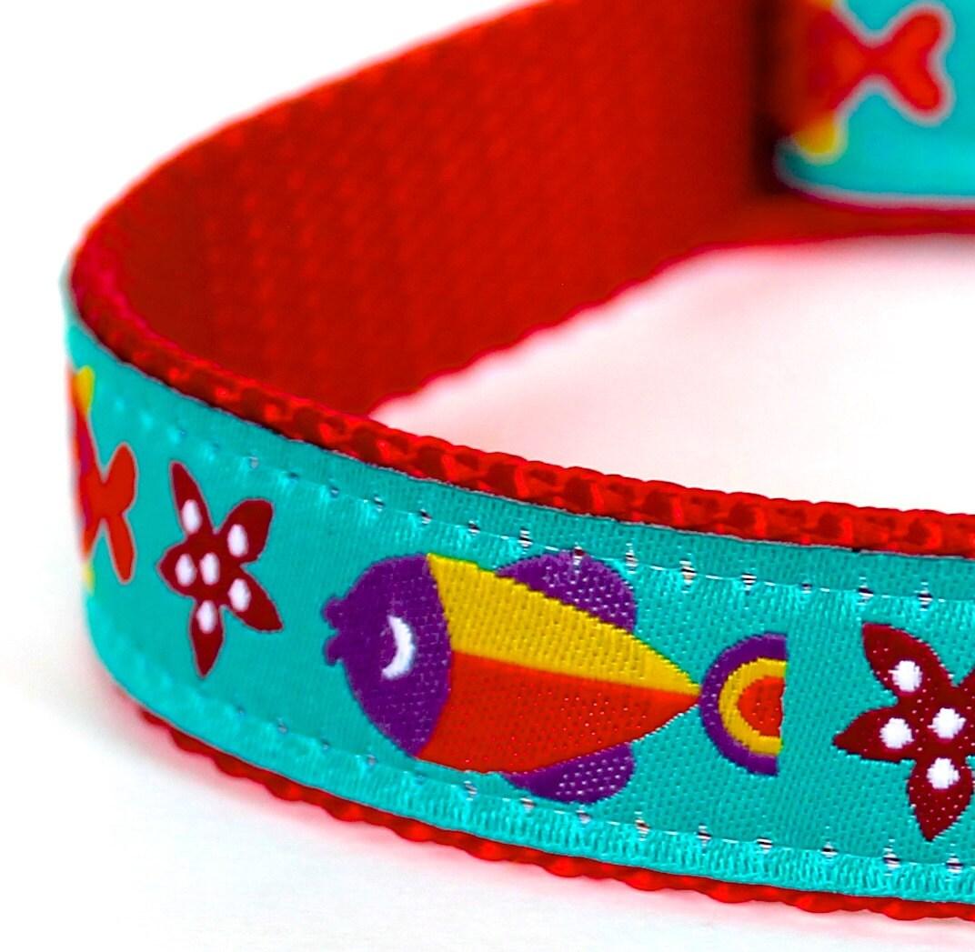 Colorful fish dog collar ribbon adjustable collar summer for Fish dog collar