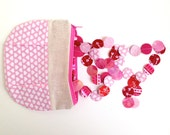 Zippered Pleated Pouch Pink and White Hearts