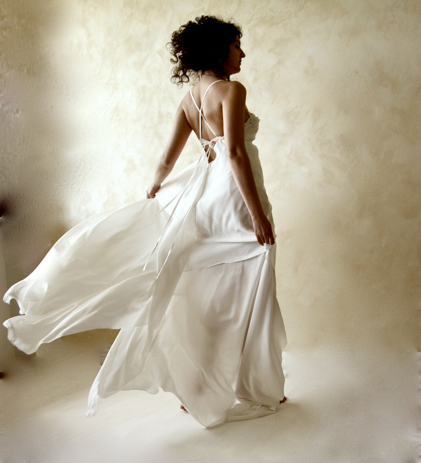 Wedding dress bridal gown open back wedding dress ethereal for Ethereal wedding dress
