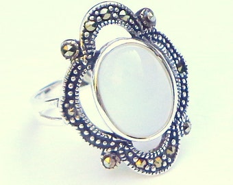 SALE, Vintage Ring, White Cat's Eye, Marcasite, Sterling Silver Ring