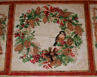 A Wonderful Christmas Holiday Peace and Joy Wreath Cotton Fabric Panel Free US Shipping