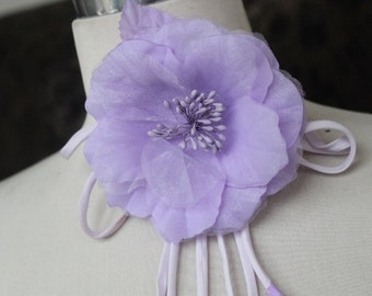 Cute organza  flower   pin 1 piece listing  lavender   color