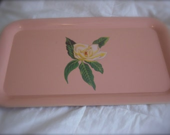 """Metal Tin Litho Serving Tray Shabby Rose / Country French Chic Tray / 17 3/4"""" x 11"""""""
