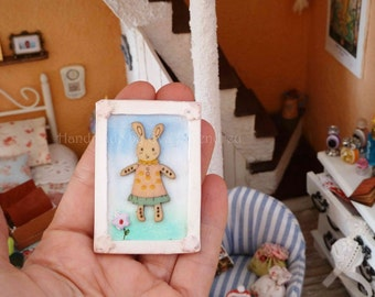 Children picture with Easter rabbit for dollhouse, miniature