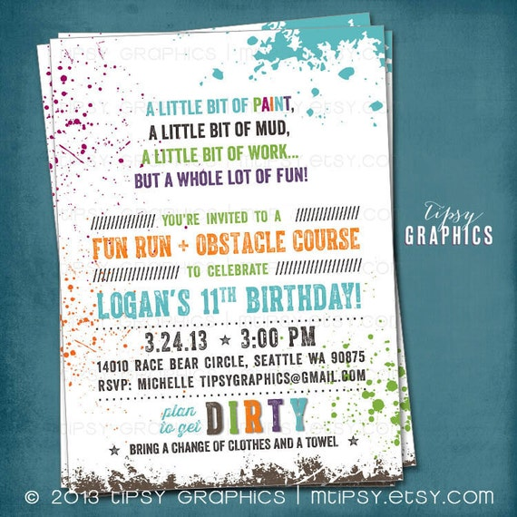 Down & DIRTy. Paint Ball. Color Run. Obstacle Course Invitation. Customized Birthday Party Invite by Tipsy Graphics. Any Text.