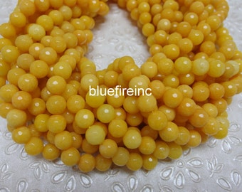 46 pcs beads 8mm round faceted dyed jade in yellow color