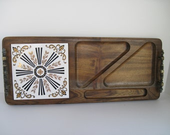 Vintage CHEESE SERVING TRAY - Wood and Ceramic Tile
