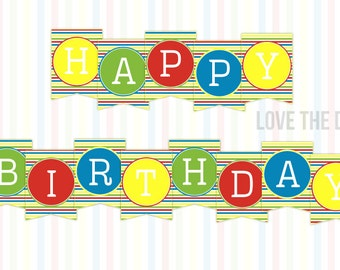 Beach Party Ideas Happy Birthday Banner (INSTANT DOWNLOAD) by Love The Day