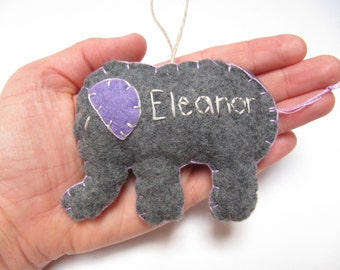 Personalized Elephant Ornament, Christmas Ornament, Felt Christmas Ornament 2015, Custom Ornament