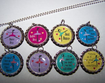 Girls Ballet Party Favors / Ballet Bottle Cap Necklaces / Girls Birthday Party Favors / Dance Party Favors