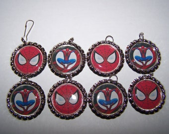 Spiderman Party Favors / Boys Spiderman Necklaces or Zipper Pulls / Superhero Party / Boys Party Favors
