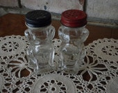 Pair of Vintage Dog Glass Salt and Pepper Shakers