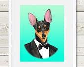 Miniature Pinscher Art - Miniature Pinscher Groom Dog Portrait Painting - Wedding Dog Art, dog art, dog home decor