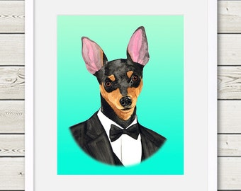 Miniature Pinscher Art - Miniature Pinscher Groom Dog Portrait Painting - Wedding Dog Art, dog art, dog home decor