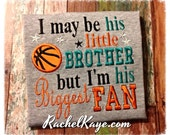 Basketball biggest fan brother shirt with appliqué basketball