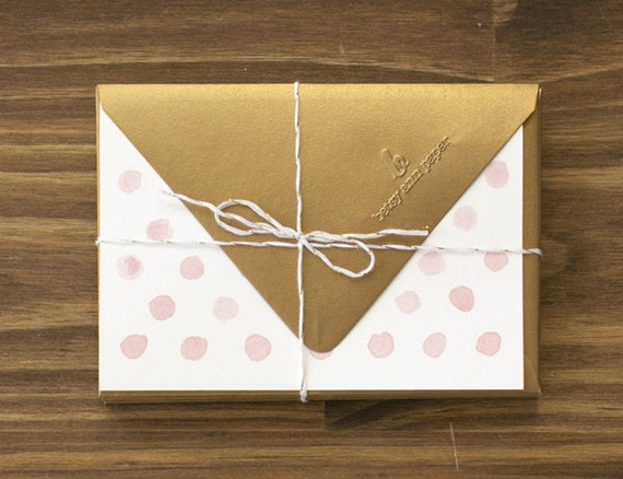 "pink & gold ""hello"" polka dot note cards"