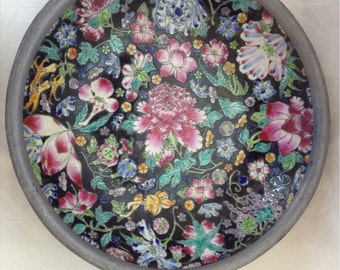 Vintage Asian Serving Bowl Metal And Porcelain Thousand Flowers Beautiful