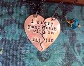 ON Sale-Bronze His & Hers Broken Heart Hand Stamped Necklace Set