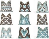Pillow. Aqua Blue, Brown Decorative Pillows.Throw Pillows.ONE Pillow Cover.Cushion Cover.Slipcover.Mix & Match All SIZES. Premier Prints