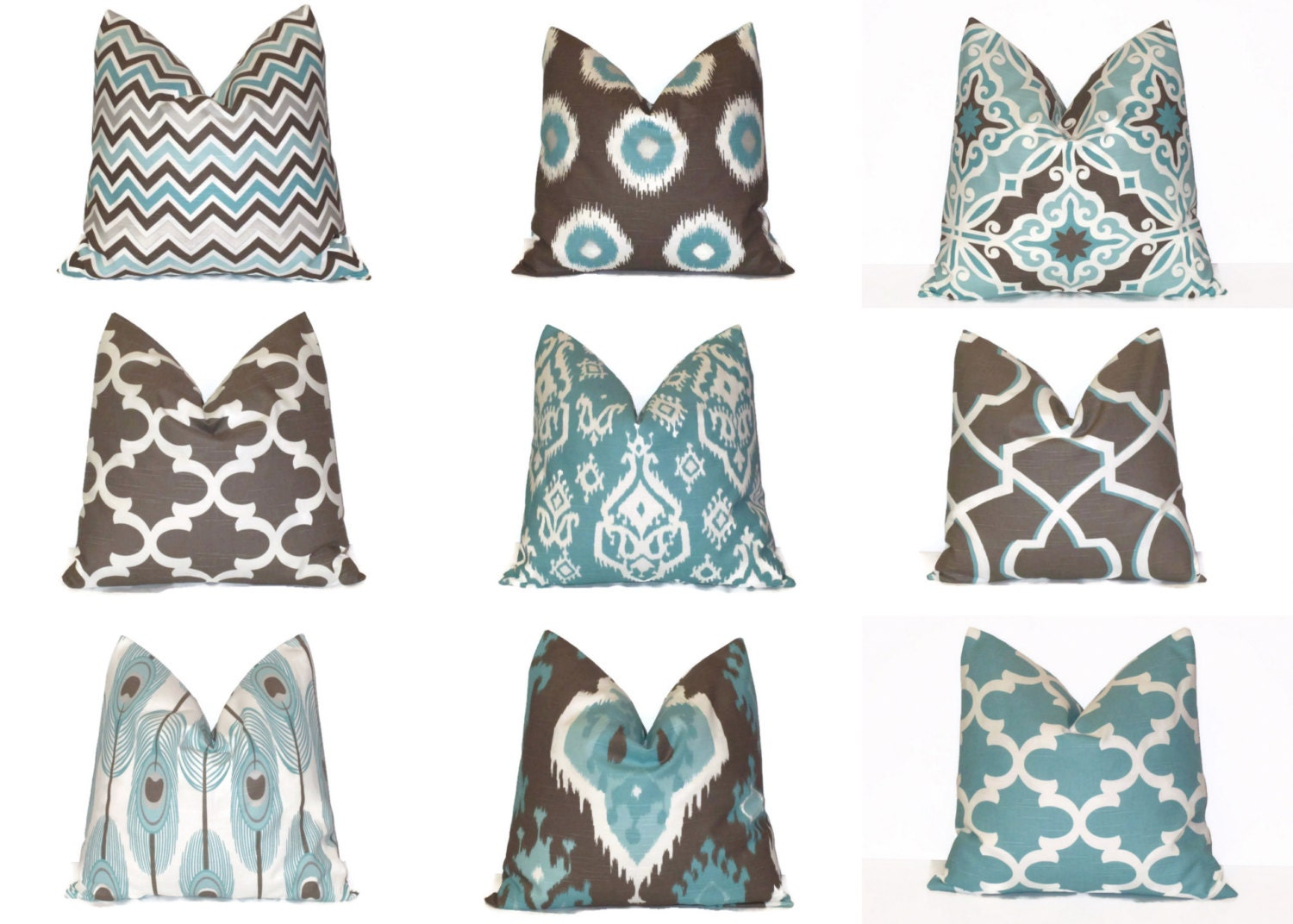 Pillow. Aqua Blue Brown Decorative by LittlePeepsHomeDecor on Etsy