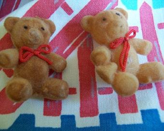two little flocked bears