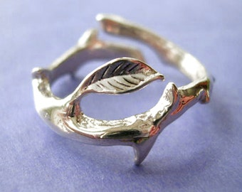 Thorn leaf ring Simple Unique Sterling Silver Jewelry Adjustable ring Sterling silver ring Thorn ring tree ring Branch ring R-034